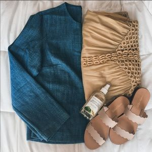 Zara chambray denim top size extra small